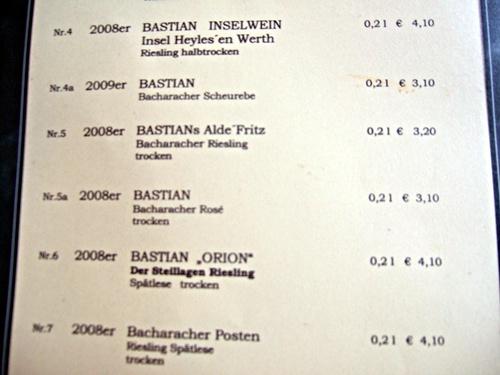 Karte im Weingut Fritz Bastian, Bacharach