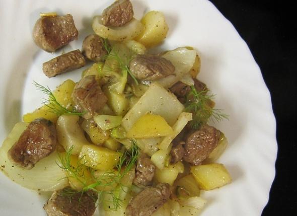 Fenchel, Kartoffel und Lammfilet