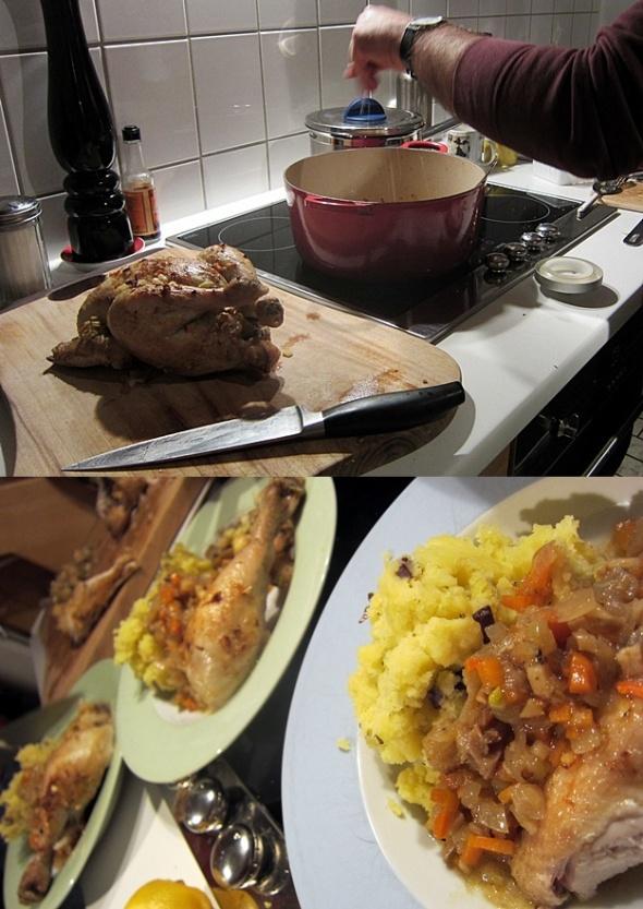 Apfelwein-Hahn mit Kartoffel-Olivenstampf